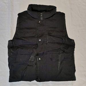 INC | Black Shimmer Utility Pocket Puffer Vest